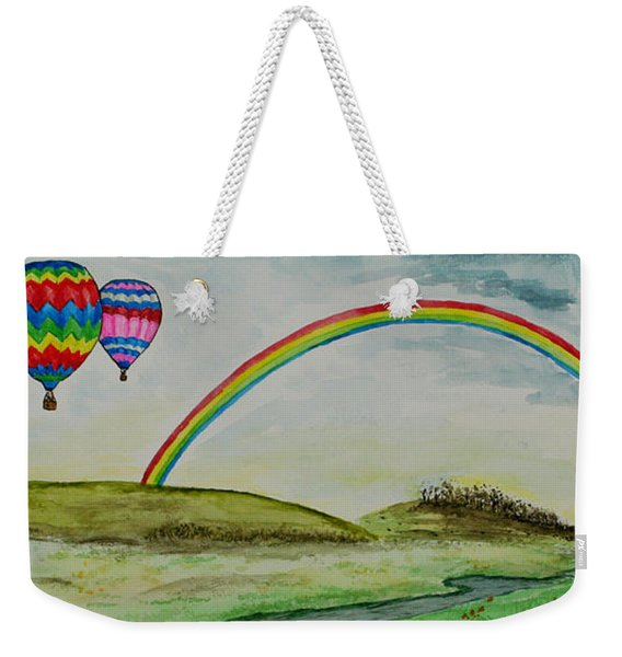 Hot Air Balloon Rainbow Weekender Tote Bag