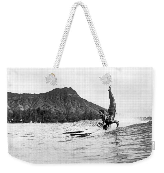 Hot Dog Surfers At Waikiki Weekender Tote Bag