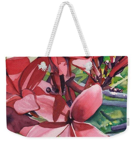 Hot Pink Plumeria Weekender Tote Bag