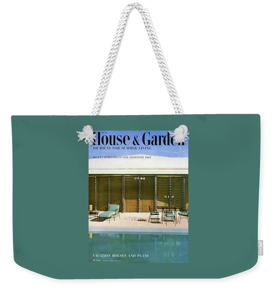 House & Garden Cover Of A Swimming Pool At Miami Weekender Tote Bag