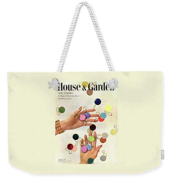 House & Garden Cover Of Woman's Hands With An Weekender Tote Bag
