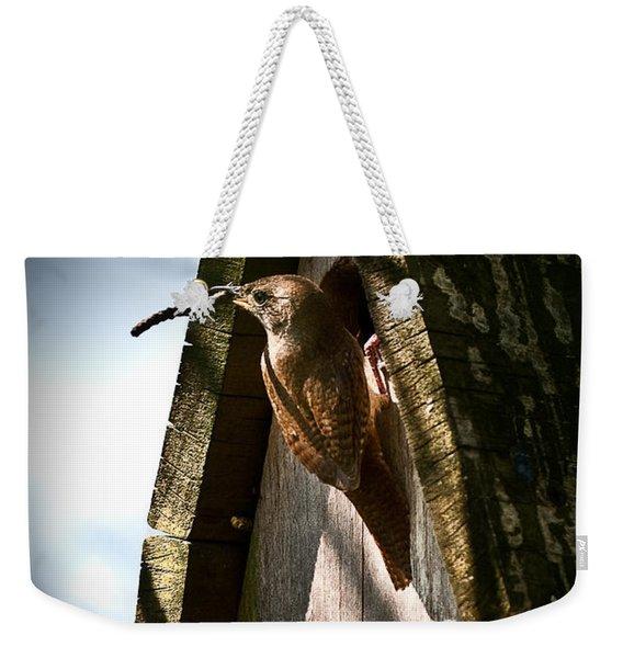 House Wren At Nest Box Weekender Tote Bag