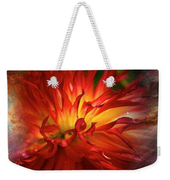 Hubble Galaxy With Red Chrysanthemums Weekender Tote Bag
