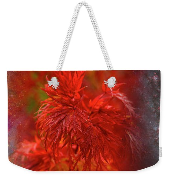 Hubble Galaxy With Red Maple Foliage Weekender Tote Bag