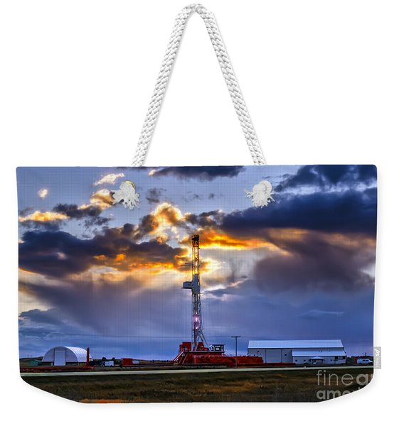 Sunset Over The Oil Rigs Weekender Tote Bag
