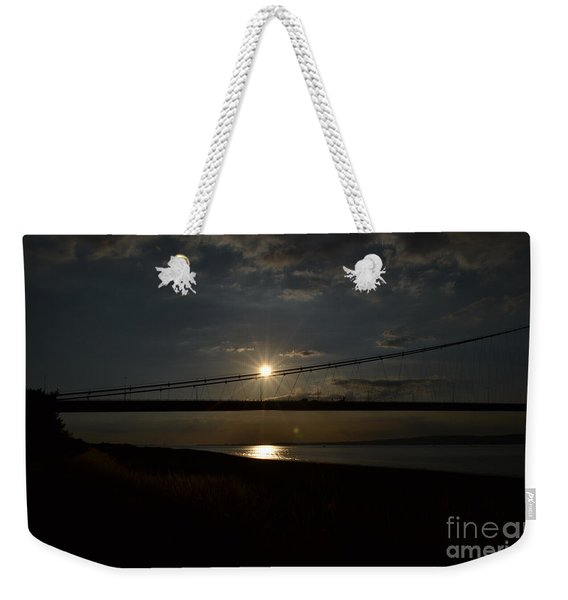 Weekender Tote Bag featuring the photograph Humber Bridge Sunset by Scott Lyons