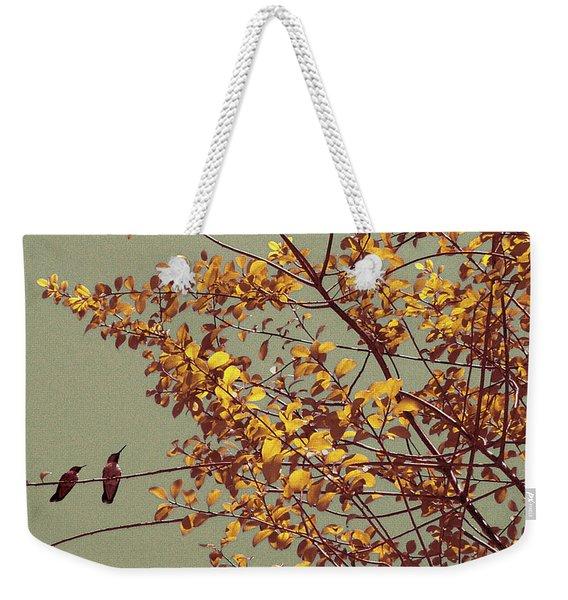Hummingbirds On Yellow Tree Weekender Tote Bag