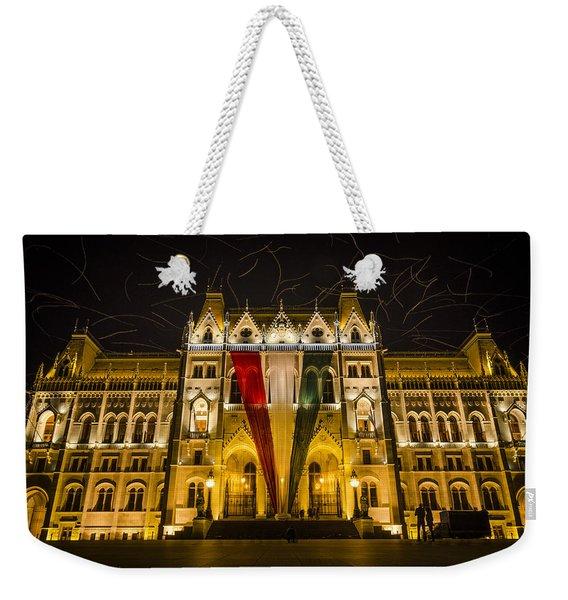 Hungarian Parliament At Night Weekender Tote Bag