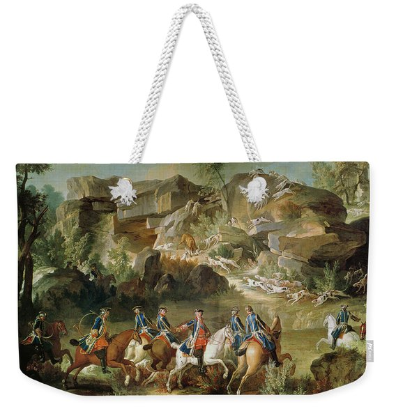 Hunting In The Forest Of Fontainebleau At Franchard Oil On Canvas Weekender Tote Bag