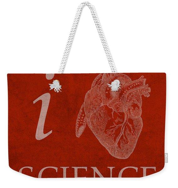 I Heart Science Humor Poster Weekender Tote Bag