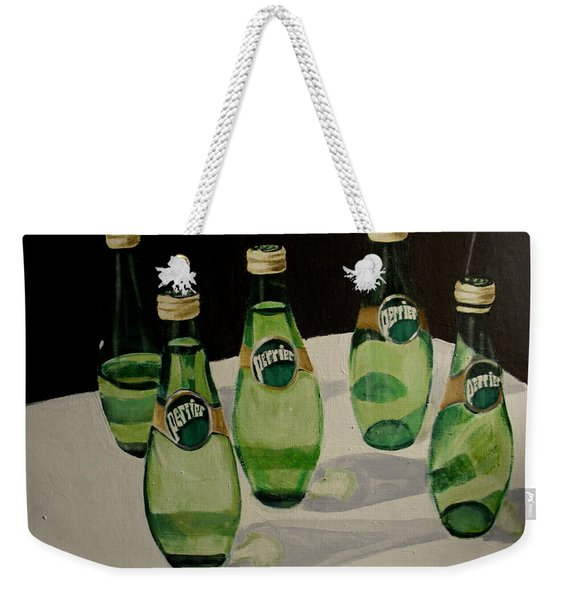 Perrier Bottled Water, Green Bottles, Conceptual Still Life Art Painting Print By Ai P. Nilson Weekender Tote Bag