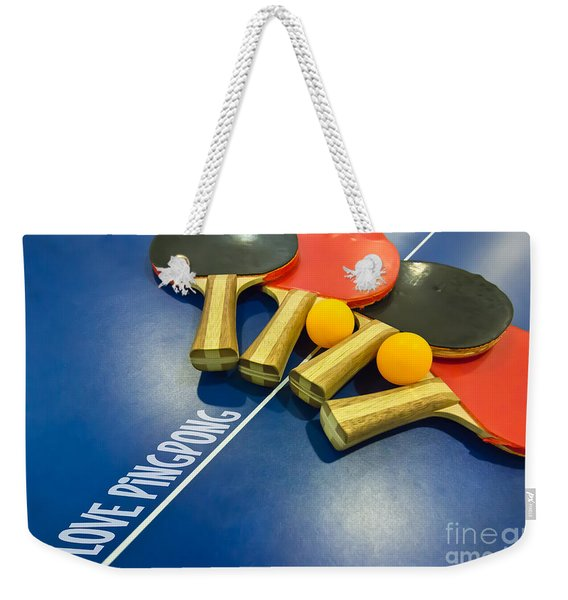 I Love Ping-pong Bats Table Tennis Paddles Rackets On Blue Weekender Tote Bag