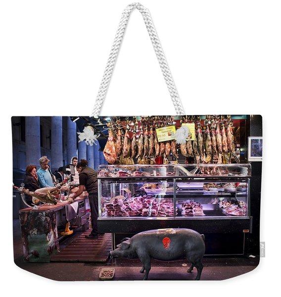 Iberico Ham Shop In La Boqueria Market In Barcelona Weekender Tote Bag