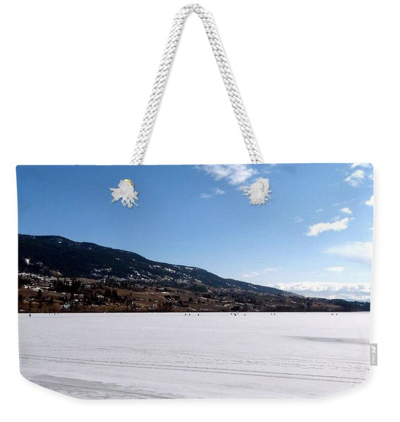 Ice Fishing On Wood Lake Weekender Tote Bag