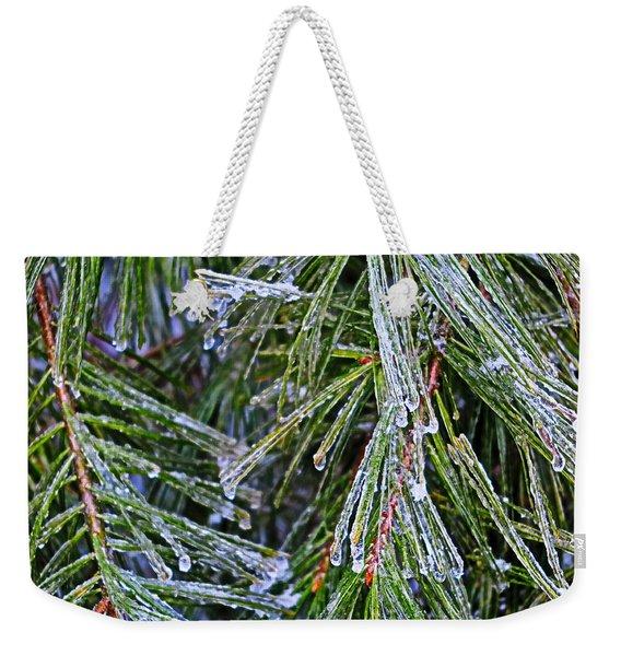 Ice On Pine Needles  Weekender Tote Bag