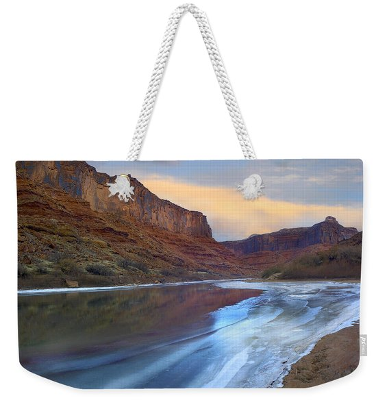 Ice On The Colorado River In Cataract Canyon Weekender Tote Bag