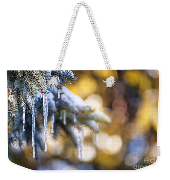 Icicles On Fir Tree In Winter Weekender Tote Bag