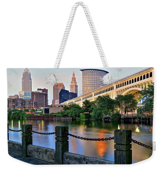 Iconic Cleveland View Weekender Tote Bag