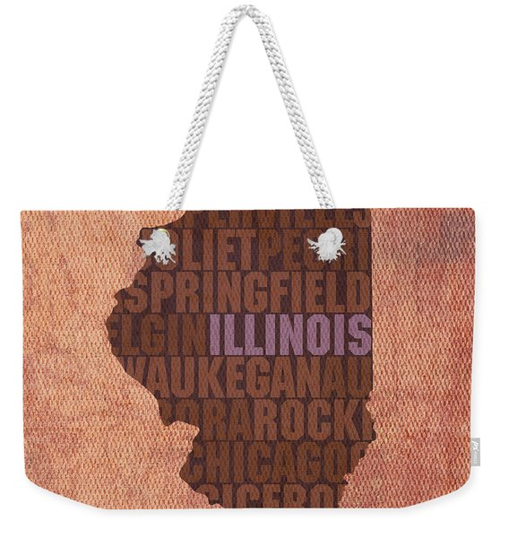 Illinois State Word Art On Canvas Weekender Tote Bag
