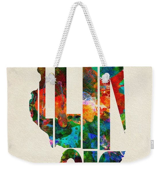 Illinois Typographic Watercolor Map Weekender Tote Bag
