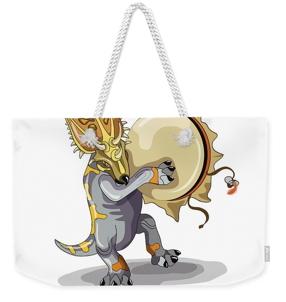 Illustration Of A Chasmosaurus Dancing Weekender Tote Bag