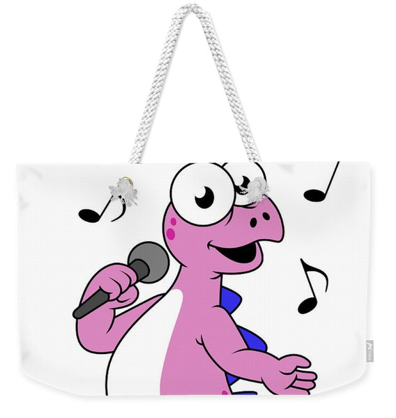 Illustration Of A Singing Stegosaurus Weekender Tote Bag