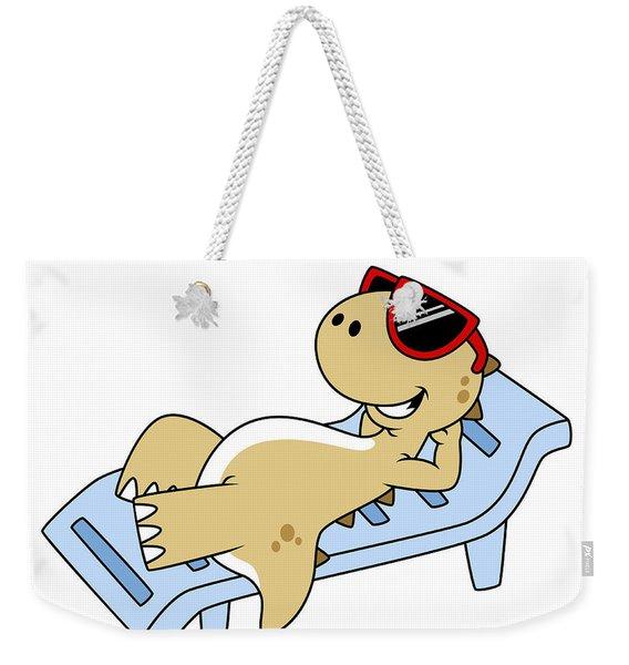 Illustration Of A Sunbathing Weekender Tote Bag