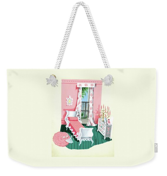 Illustration Of A Victorian Style Pink And Green Weekender Tote Bag