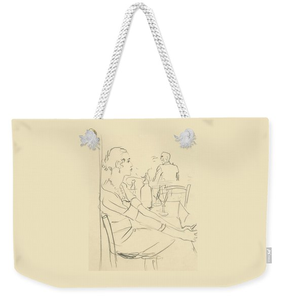 Illustration Of A Woman Sitting Down Weekender Tote Bag