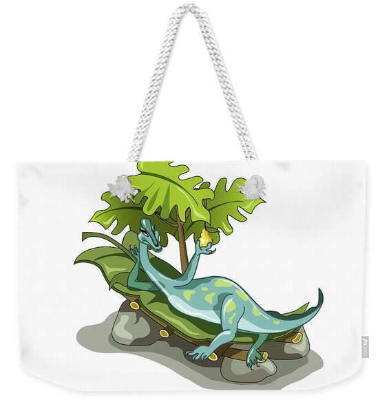 Illustration Of An Iguanodon Sunbathing Weekender Tote Bag