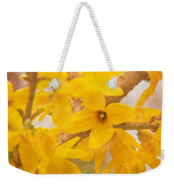 Weekender Tote Bag featuring the photograph Impressionist Forsythia by Jemmy Archer