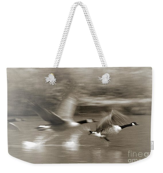 Weekender Tote Bag featuring the photograph In A Blur Of Feathers by Jeremy Hayden