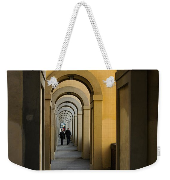 In A Distance - Vasari Corridor In Florence Italy  Weekender Tote Bag