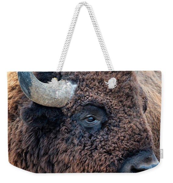 Bison The Mighty Beast Bison Das Machtige Tier North American Wildlife By Olena Art Weekender Tote Bag