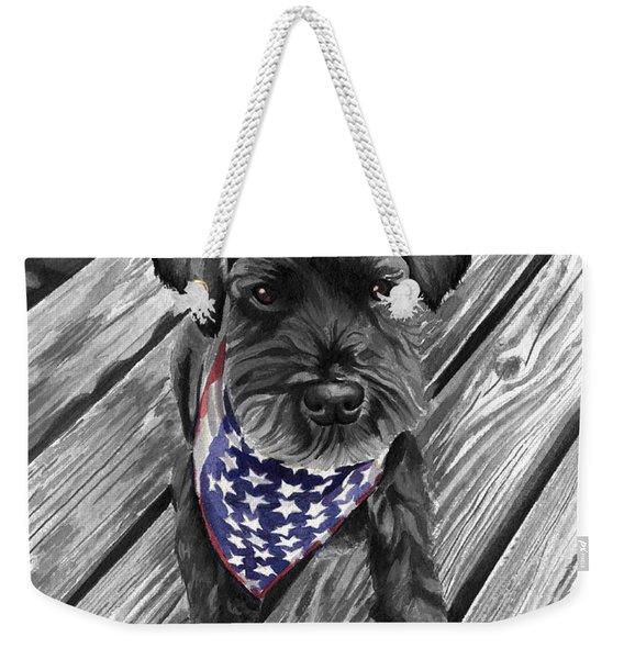 Watercolor Schnauzer Black Dog Weekender Tote Bag