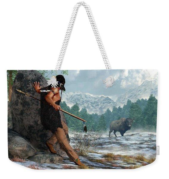 Indian Hunting With Atlatl Weekender Tote Bag