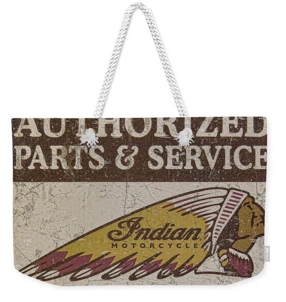 Indian Motorcycle Sign Weekender Tote Bag