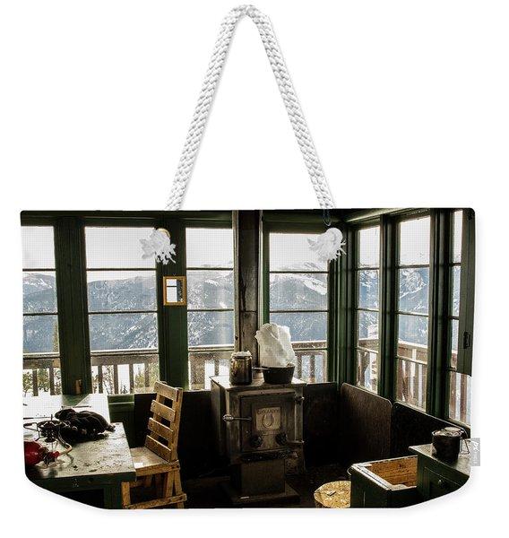 Inside A Fire Lookout In Winter Weekender Tote Bag