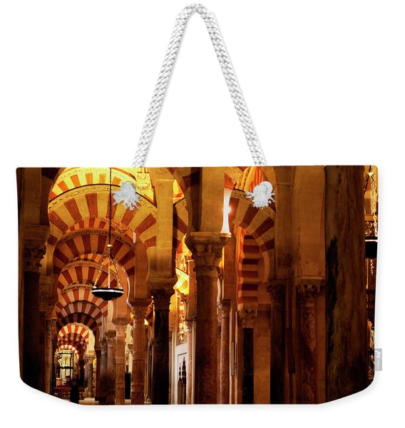 Weekender Tote Bag featuring the photograph Inside The Mezquita by Lorraine Devon Wilke