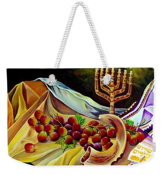 Weekender Tote Bag featuring the painting Intercession by Nancy Cupp