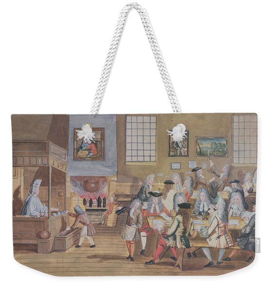Interior Of A London Coffee House, C.1650-1750 Wc On Paper Weekender Tote Bag