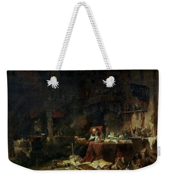 Interior Of An Alchemists Study Oil On Canvas Weekender Tote Bag