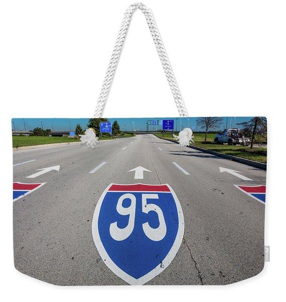 Interstate 95 Road Sign Weekender Tote Bag
