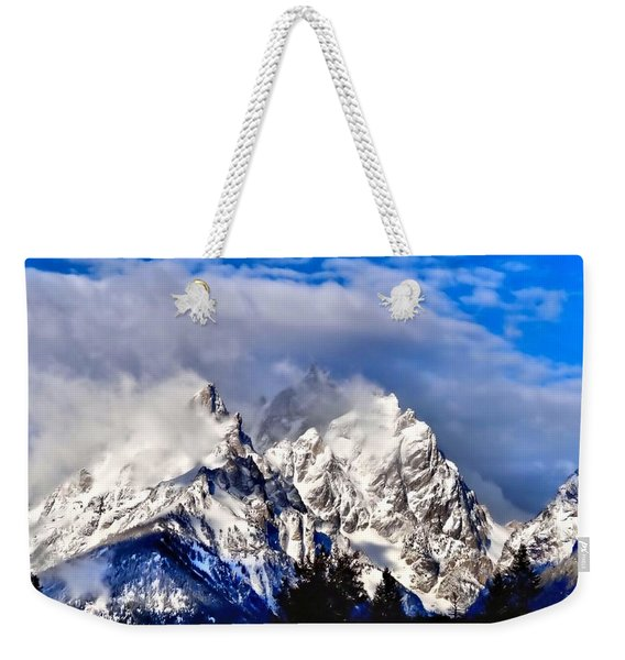 Teton Mountains In The Clouds Weekender Tote Bag