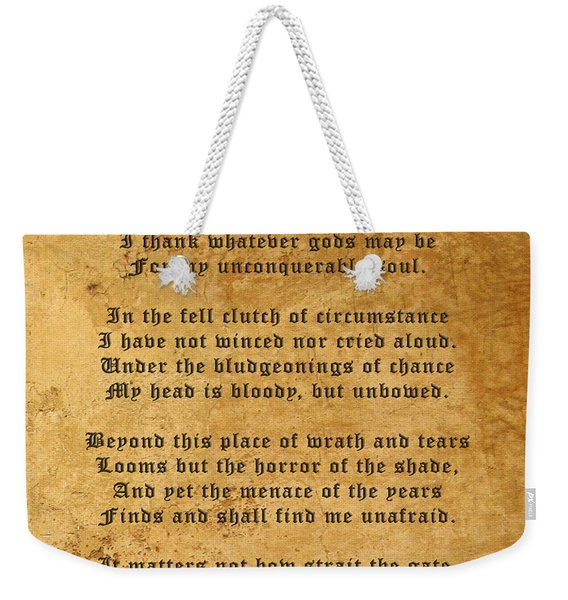 Invictus As A Tribute To Nelson Mandela Weekender Tote Bag