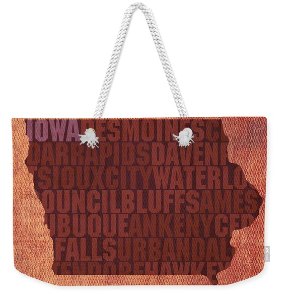 Iowa Word Art State Map On Canvas Weekender Tote Bag
