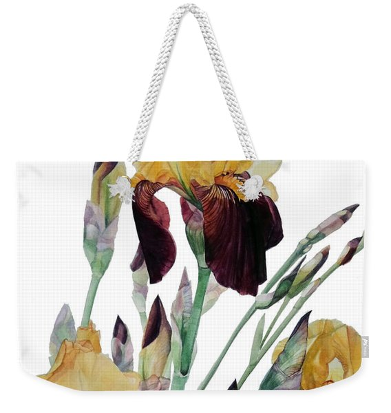 Watercolor Of Tall Bearded Iris In Yellow And Maroon I Call Iris Beethoven Weekender Tote Bag