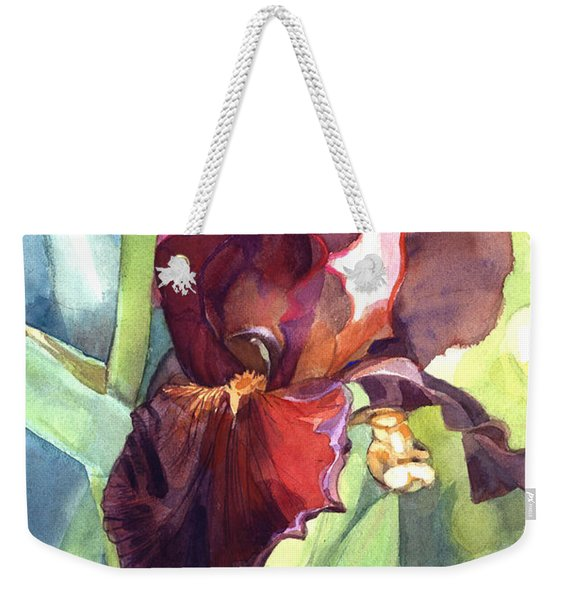 Watercolor Of A Tall Bearded Iris Called Sultan's Palace In Red And Burgundy Weekender Tote Bag