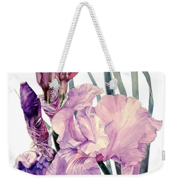Watercolor Of An Elegant Tall Bearded Iris In Pink And Purple I Call Iris Joan Sutherland Weekender Tote Bag