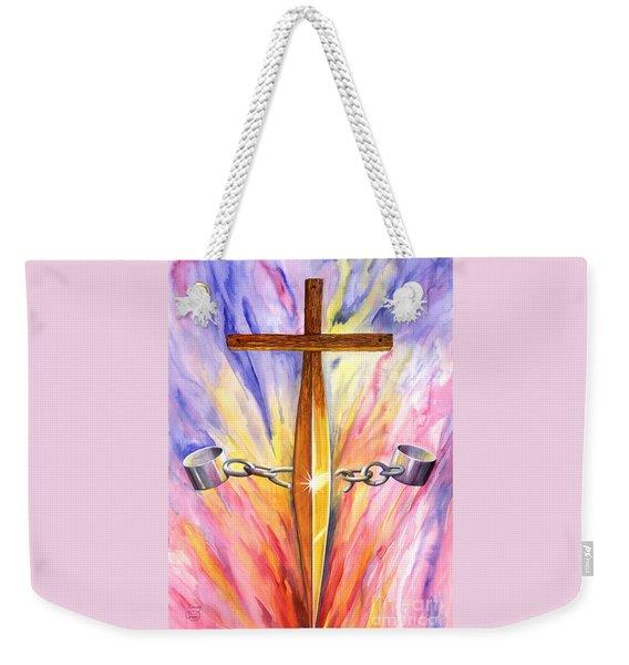 Weekender Tote Bag featuring the painting Isaiah 61 by Nancy Cupp